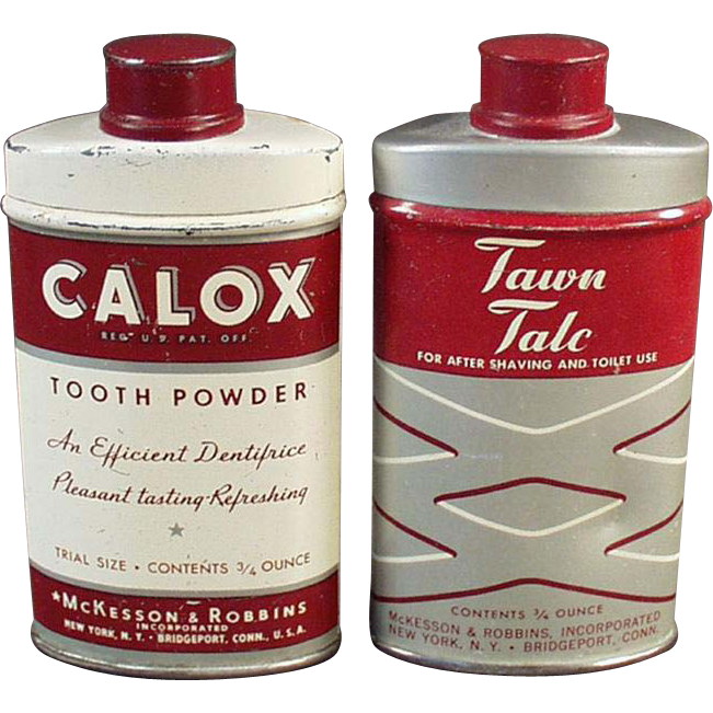 Vintage Tins for Decorating His Bathroom - Talc & Tooth Powder