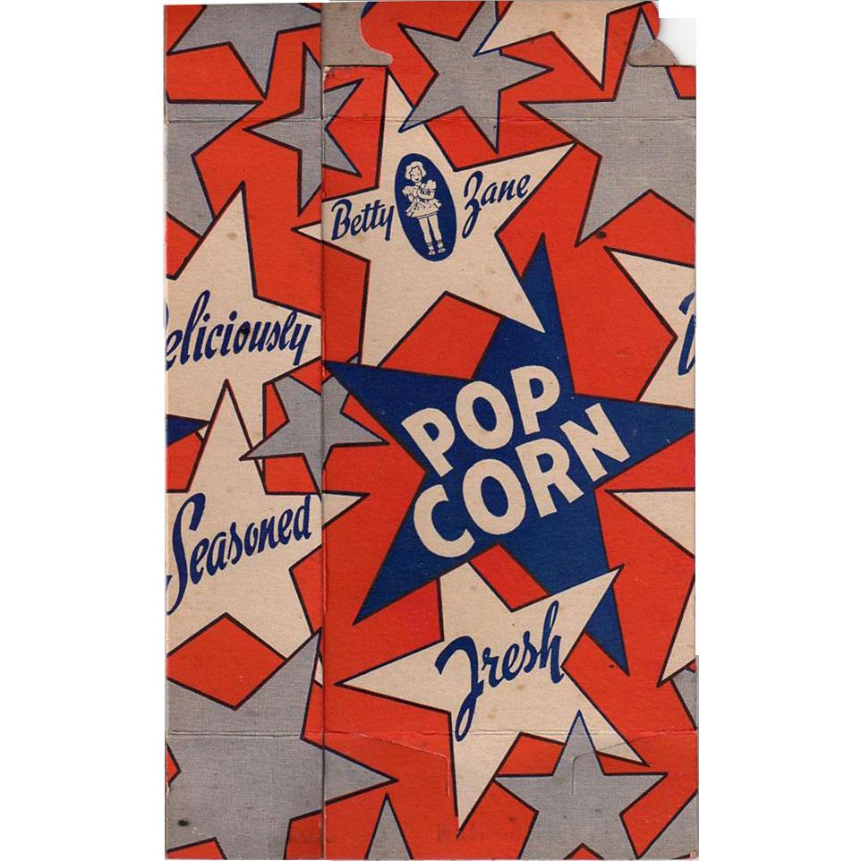 Vintage Betty Zane Popcorn Box - 10c Size - Never Used