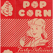 Vintage Popcorn Box - Empire State Nut Company with Boy & Girl Graphics