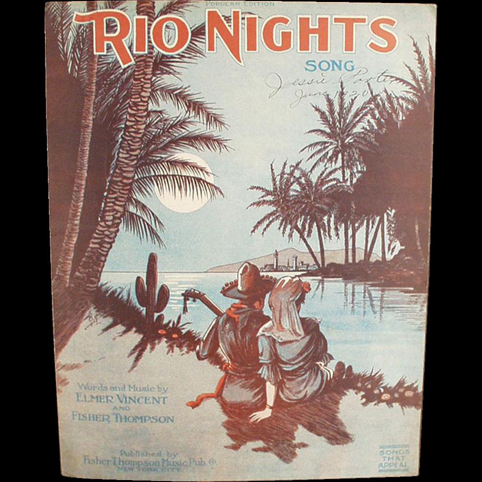 Vintage Sheet Music - Rio Nights - Nice Graphics