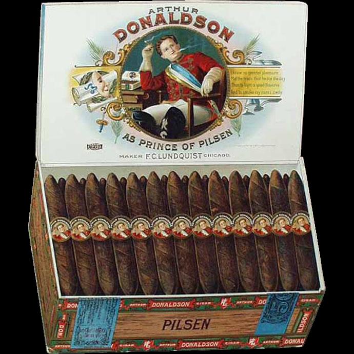 Vintage Advertising Sign - Arthur Donaldson Pilsen Cigars - Cardboard