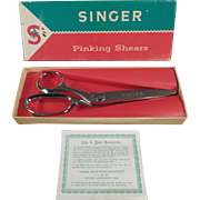Vintage Singer Pinking Shears with Original Box - Left Handed Scissors