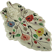 Vintage Blue Ridge Celery Dish - Leaf Shape with Nice Floral Pattern