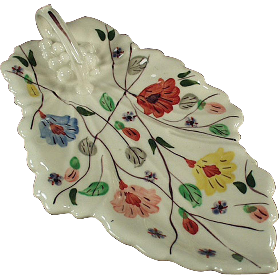 Vintage Blue Ridge Celery Dish - Leaf Shape with Nice Floral Pattern