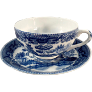 Vintage Blue Willow Tea Cup & Saucer with Geisha Lithophane