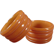 Pair of Vintage Bakelite Napkin Rings - Butterscotch