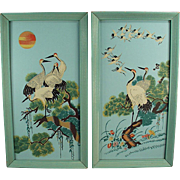 Vintage Wall Hangings - Colorful Birds in Original Turquoise Frames