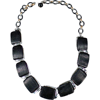 Vintage Lisner Choker Necklace - Molded Black Plastic and Chrome Deco Look