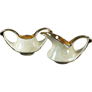 Vintage Pearl China Cream & Sugar Set with Gold Accent