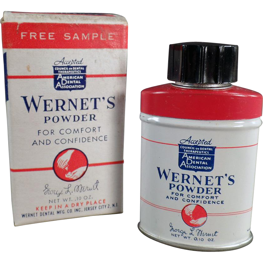 Vintage Wernet's Denture Powder - Sample Size Tin with Origianl Box
