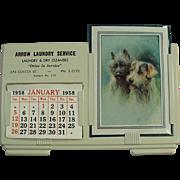 Vintage Calendar Sample with Arrow Laundry Advertising - 1958