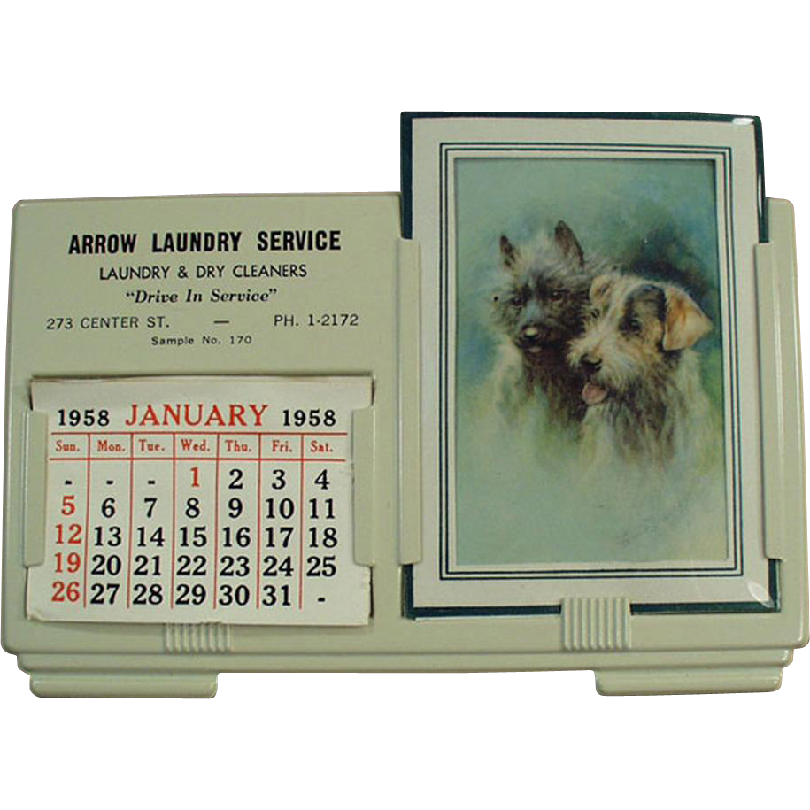 Vintage Calendar Sample with Arrow Laundry Advertising - 1958