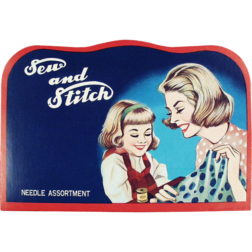 "Vintage Sewing Needle Book - ""Sew and Stitch"" with Mother & Daughter Graphics"