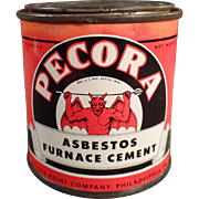 Vintage Pecora Asbestos Furnace Cement Tin - Nice Graphics with a Devil