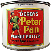 Vintage Peanut Butter Tin and Advertising Key - Derby Peter Pan