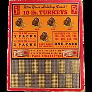 Vintage Punch Board - Win a Turkey - Unused - Cigarette Advertising
