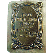 Vintage Celluloid Advertising Blotter from Baker Mill & Grain in Oregon