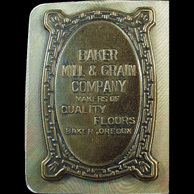 Vintage Celluloid Advertising Blotter from Baker Mill & Grain in Oregon