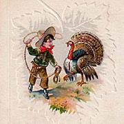 Vintage Thanksgiving Postcard - Turkey & Cowboy