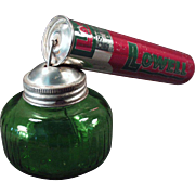 Vintage Pump Sprayer - Lowell Spray Atomizer Tin with Green Glass Bottle