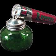 Vintage Pump Sprayer - Lowell Spray Atomizer Tin with Green Glass Bottle