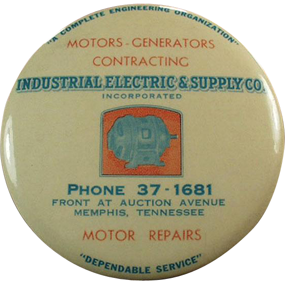 Vintage Celluloid Mirror Paperweight - Industrial Electric Supply Co. Advertising
