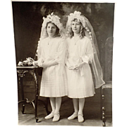 Vintage Photograph - Young Girls in Communion Dresses - Large Format