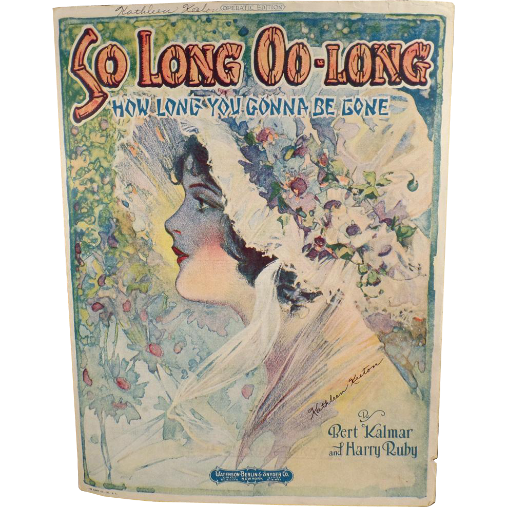 So Long Oo-Long - Vintage Sheet Music with Pretty Cover