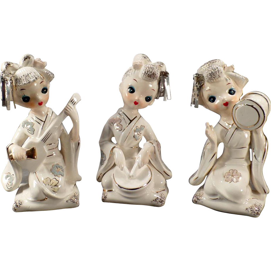 Vintage Porcelain Geisha Girls - Set of Three - Very Pretty