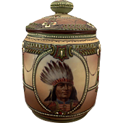 Vintage Morimura Tobacco Humidor - Nippon with Indian and Moriage Detail
