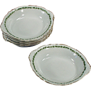 5 Vintage Dessert Dishes - Royal Saxony - Green Ivy Trim