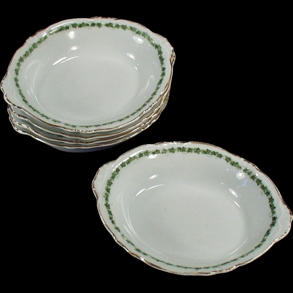 5 Vintage Dessert Dishes - Royal Saxony - Green Ivy Trim