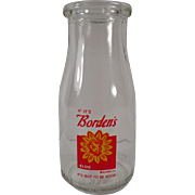 Vintage Borden's Half Pint Milk Bottle w- Pyroglazed Advertising and Elsie