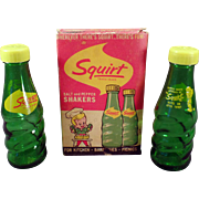 Vintage Salt & Pepper Set - Miniature Squirt Soda Bottles with Original Box