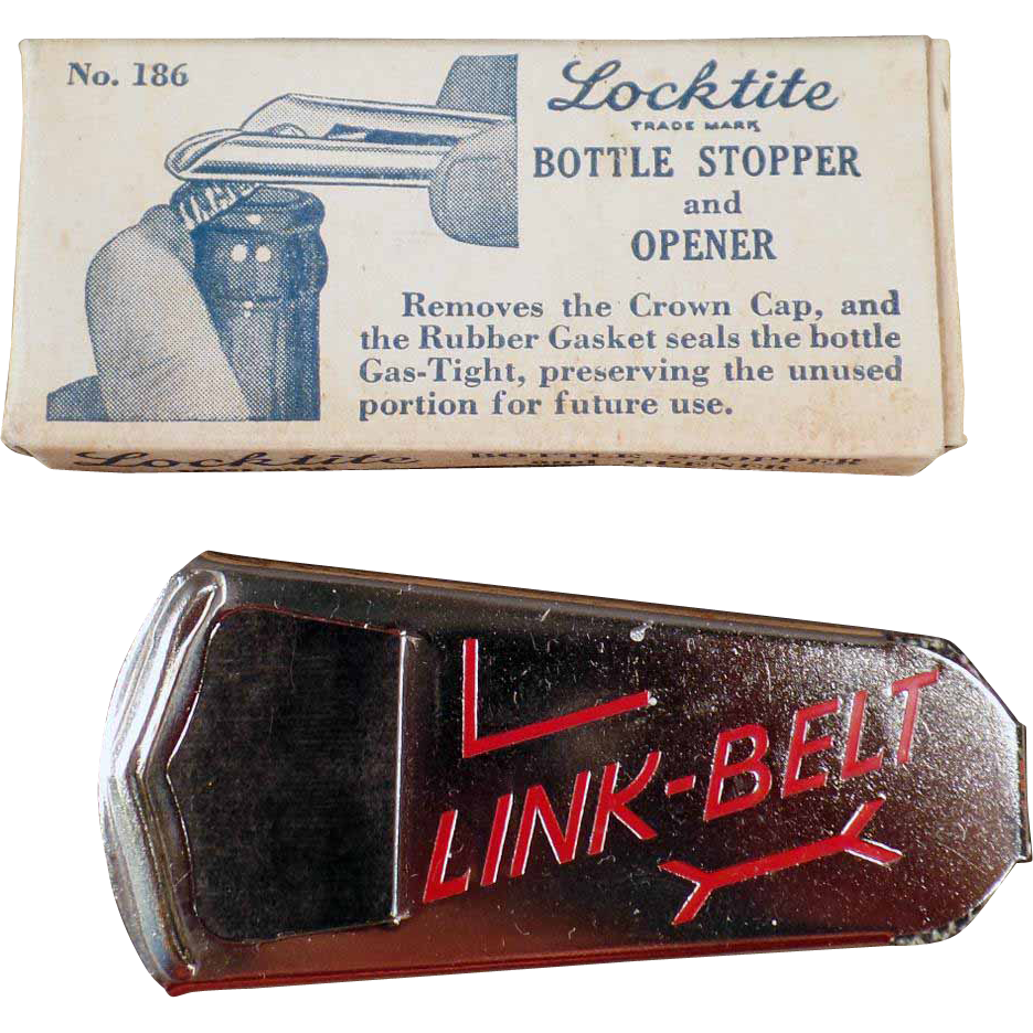 Vintage Vaughn Locktite Bottle Stopper and Opener with Link-Belt Advertising - Original Box