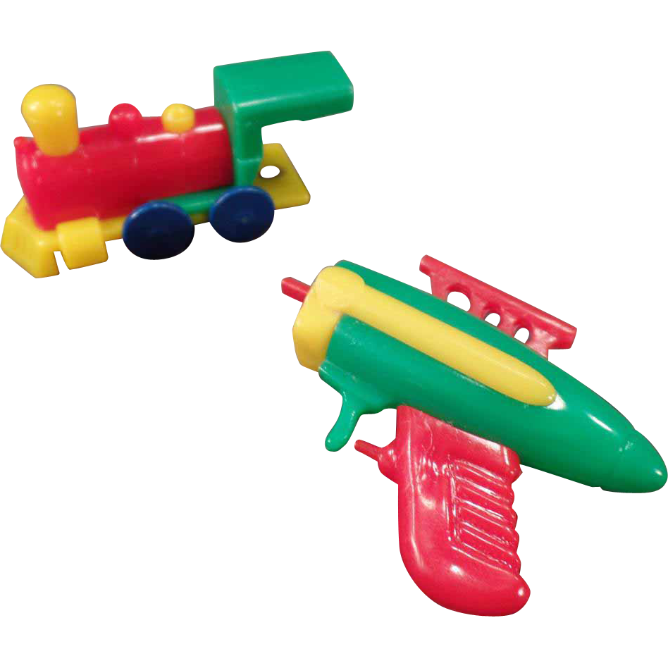 Vintage Puzzle Key Chain Toys - Space Gun & Train - Parts Only