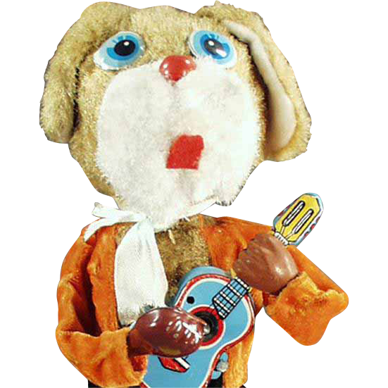 Vintage Wind-up Toy Dog Playing a Musical Guitar - Tin & Plush