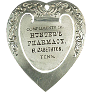Vintage Aluminum Bookmark - Hunter's Pharmacy Advertising