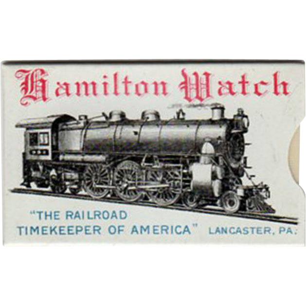 Vintage Hamilton Watch Celluloid Advertising - Nice Train Graphics