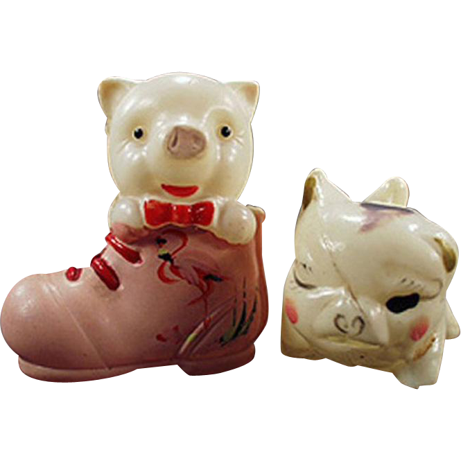Vintage Celluloid Pigs - Little Piggies - 2 Different Figures