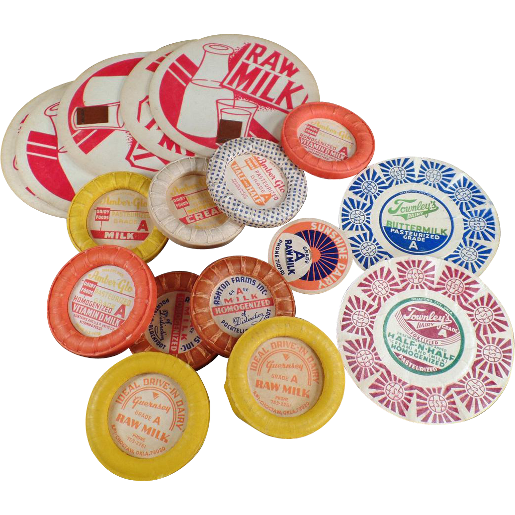 Vintage Cardboard Milk Bottle Caps - Amber-Glo, Ashton Farms and Others