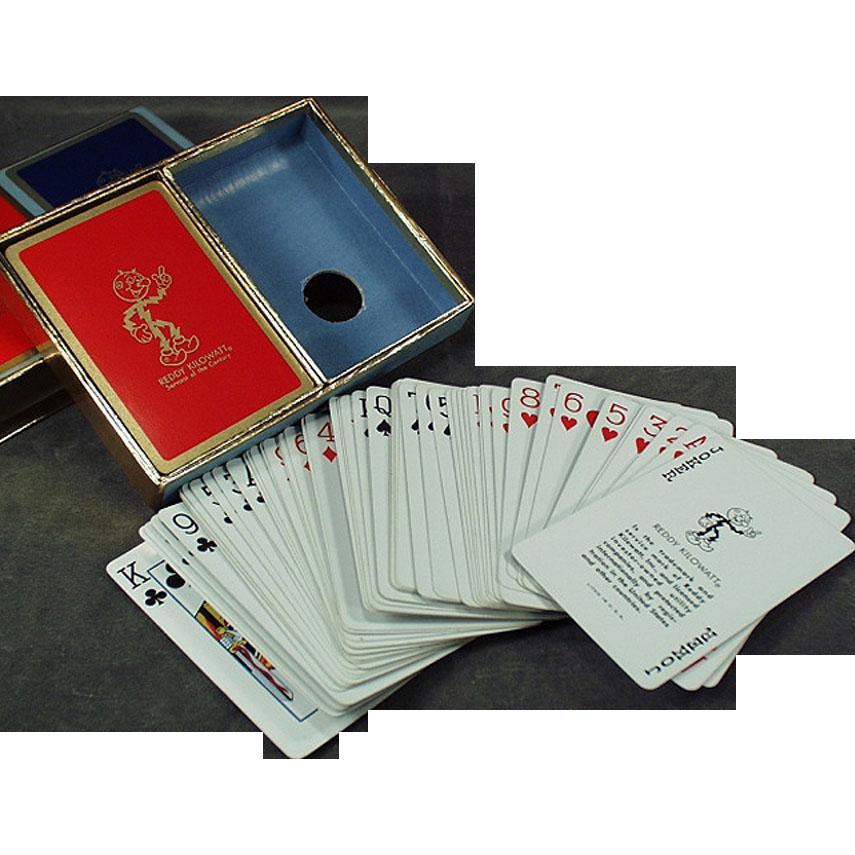 Vintage Reddy Kilowatt Advertising - Old Playing Cards - Double Deck