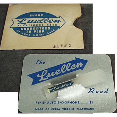 Vintage Saxaphone Reed - Luellen Plastikane Reed w-Original Package