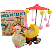 Vintage Celluloid Wind Up Toy - Old Wind-up Duck Carriage with Original Box