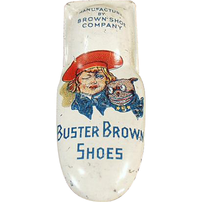 Vintage Buster Brown Shoes Advertising - Tin Clicker Toy