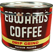 Vintage Edwards Coffee Tin - Half Pound Size - Key Wind