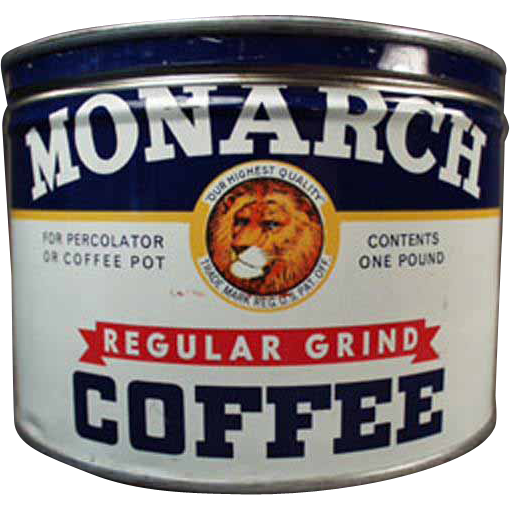 Vintage Monarch Coffee Tin - 1# Key Wind - Reid Murdoch Co