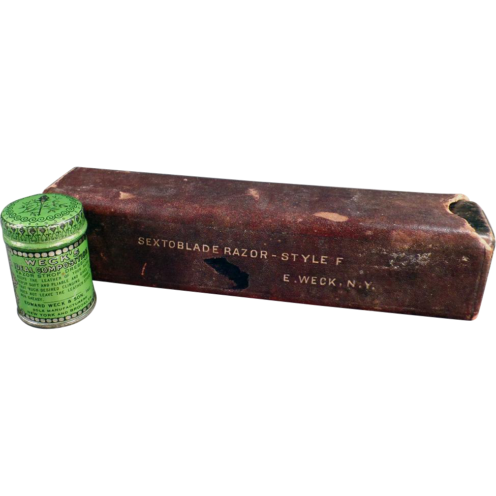 Vintage Weck's Razor Strop Dressing Tin and Razor Box