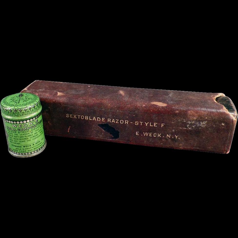 Vintage Weck's Razor Strop Dressing Tin and Razor Box