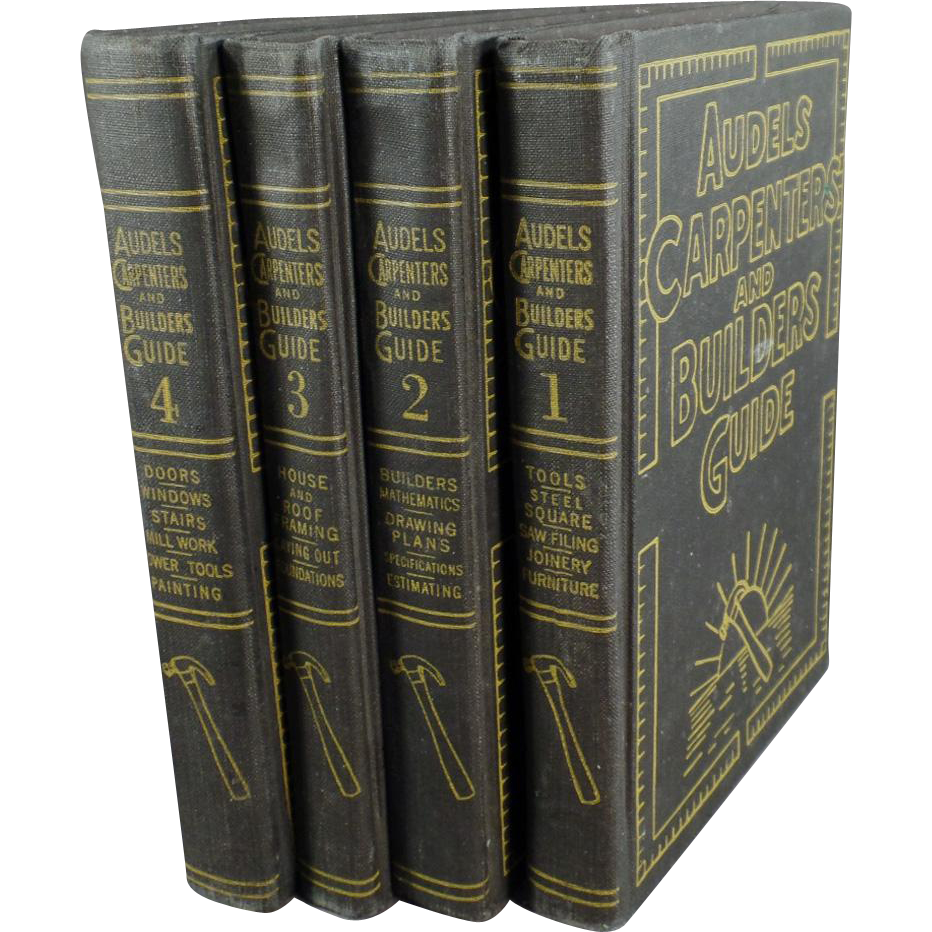 Vintage 4 Book Set of Audels Carpenters and Builders Guide - 1951